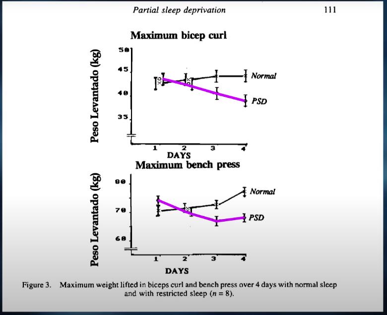 Relacion de peso que puedes levantar dependiendo de tu sueño diario